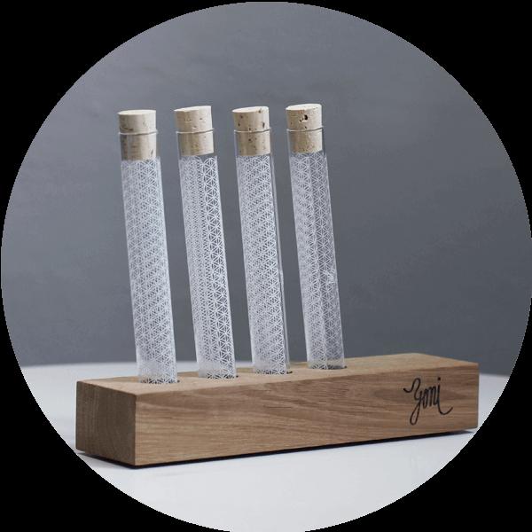 Stojánek na rawtoothbrush pouzdro z českého skla