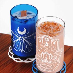 svíčka ze sójového vosku a sklenice