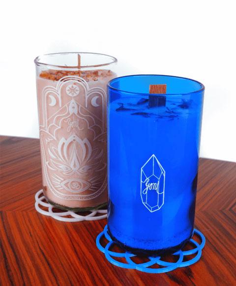 fotka zadní strany sklenic se svíčkou z přírodního vosku - první