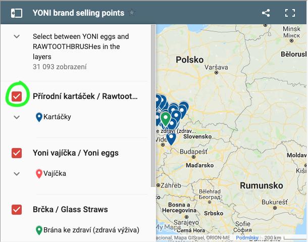 Mapa prodejních míst