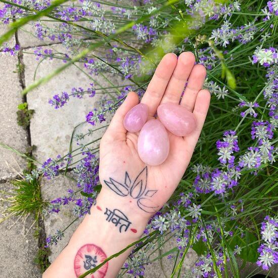 Rose quartz master set of three eggs